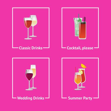 Alcohol Drinks and Cocktails for Wedding and Party Ilustração