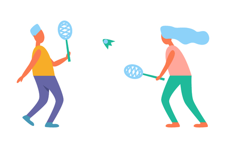 Man and woman playing tennis vector illustration isolated on white background. People doing active sport activities in cartoon style