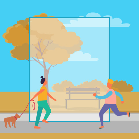 Man on skate rollers and woman walking dog in autumn park with bench and golden trees. Vector illustration with frame for text in center Ilustracja