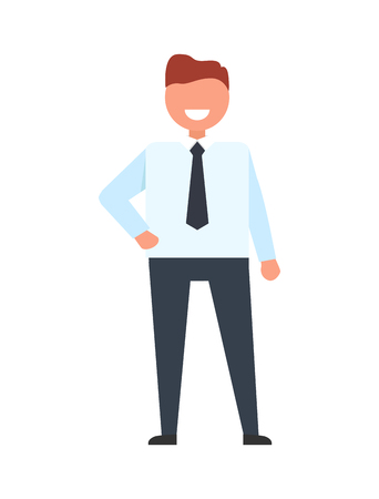Confident faceless businessman in white t-shirt and trousers holds arm on waist vector illustration. Office worker in tie, professional manager icon