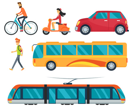 Different types of transport, icons of walking boy, cycling man, car and bus, train and woman on moped vector illustration isolated on white Çizim