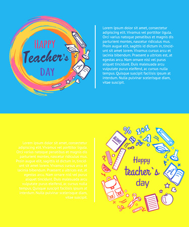 Happy teachers day, promotional poster dedicated to school event representing title in circle and icons of pen, apple and books, vector illustration Ilustração
