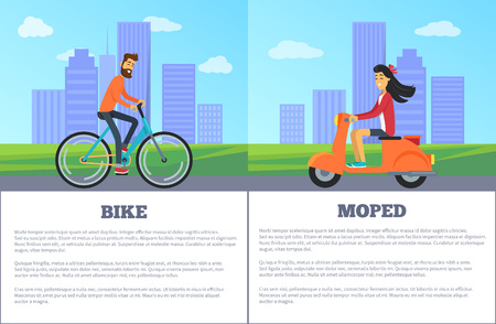 Bike and moped comparing of two personal types of transport. Vector illustration with bicyclist and girl on scooter on city background