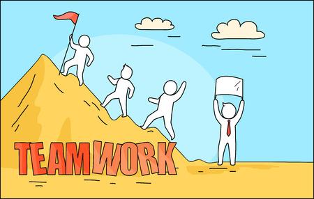 Teamwork-großes Bild von den Leuten, die auf Berg, Person auf es mit rotem Band und Mann auf dem Boden mit Plakatvektorillustration klettern Standard-Bild - 90315095