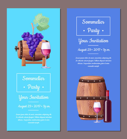 Sommelier party invitation august 29, two posters with wine barrels, grapes and glasses and text sample vector illustration isolated on blue