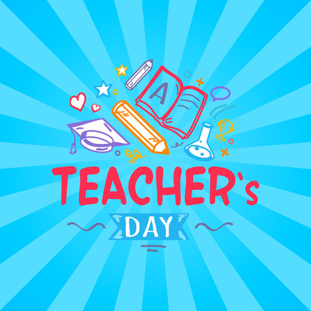Teachers day, big promotional poster representing title and icons of pens, stars and hearts, books and lines with ribbon vector illustration