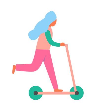 Woman riding on scooter vehicle ridden as recreation, consisting of footboard mounted on two wheels and long steering handle vector cartoon style