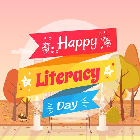 幸せな識字デー カラフルな願いのベクトル イラスト。画像の背景は黄ばんだ木秋市立公園、草の葉