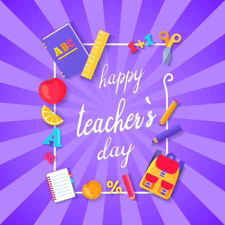 Happy Teacher s Day multicolored postcard. Text on vector illustration surrounded by frame of school stuff isolated on purple background Фото со стока - 90315258