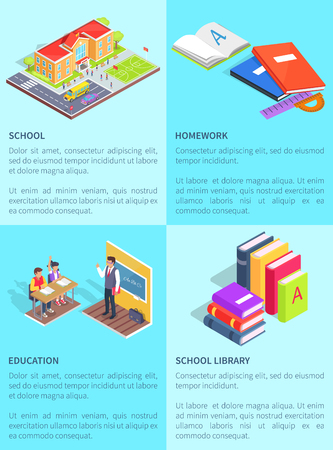 Set of school posters with text. Isolated vector illustration of educational institution, notebooks with homework, lesson and books from library