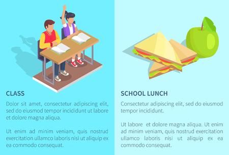 Klasse met twee studentenjongen en meisjeszitting bij bureau met open handboeken en schoolmaaltijdappel en sandwich vectorillustraties met tekst op blauw