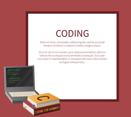 Coding banner with portable computer and thick textbooks for informatics studies vector illustration with place for text. Open laptop with program code on screen.