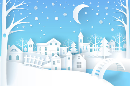 Winter landscape represented by trees, stars and moon, houses and church vector illustration isolated on blue and white background