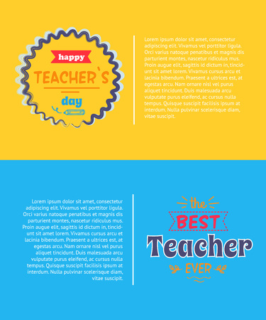 Happy teachers day promotional poster, representing circle decorated with wavy lines inside of which there is title vector illustration
