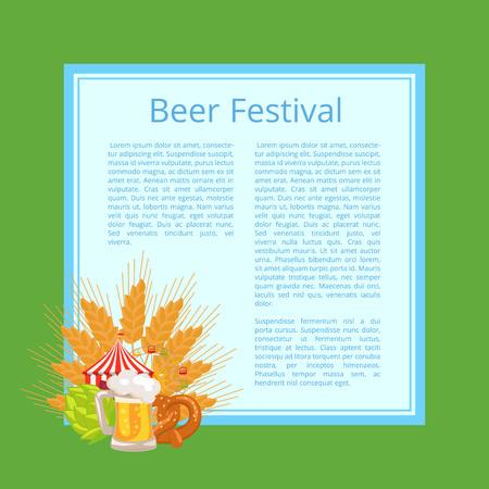 Beer festival poster vector illustration of fresh cabbage, full foamy mug, tasty bagel with sesame, ears of wheat, fest tent and Ferris wheel Illustration