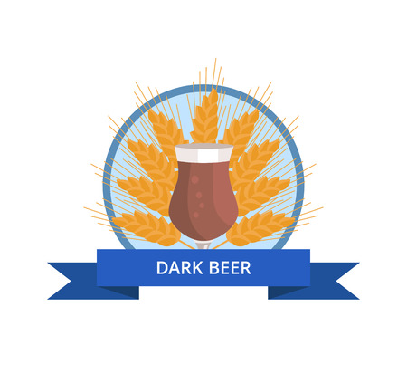 Dark beer tulip, icon of full glass of alcoholic drink with ear of wheat and blue ribbon with text on it vector illustration isolated on white Illustration