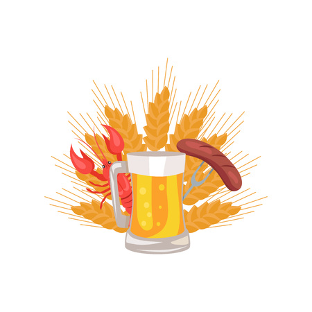 Glass of beer with grilled sausage on folk and cooked red crayfish on background of ears of wheat vector illustration logo design for Oktoberfest festival