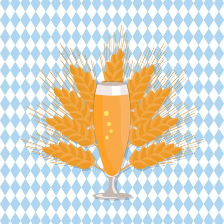 麦の穂と市松模様の背景のベクトル図をビールのグラス。透明ガラス フラット スタイルでさわやかなアルコール飲料