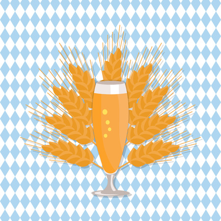 glass of beer vector illustration on checkered backdrop with ears of wheat. Refreshing alcoholic beverage in transparent glassware flat style