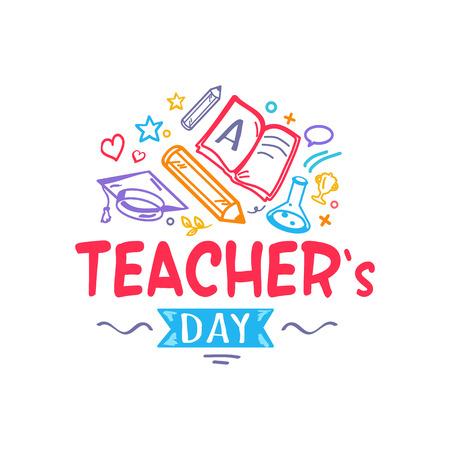 Teacher's Day kleurrijke felicitatie met doodles, schoolspullen zoals boeken en potloden. Vectorillustratie geïsoleerd op witte achtergrond Stock Illustratie