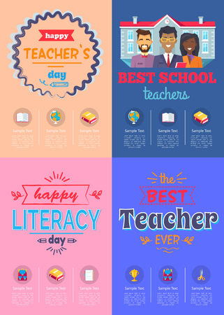 Four posters dedicated to teachers day celebration held in each school in autumn vector illustration isolated on pink and blue backgrounds Ilustrace