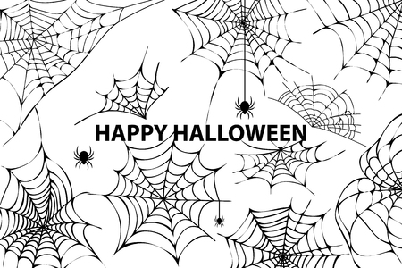 Gelukkige Halloween-Spinnewebspinnen Vectorillustratie