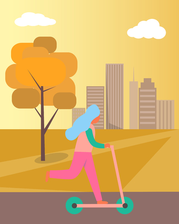 Girl Riding Kick-scooter on Vector Illustration Stock Illustratie