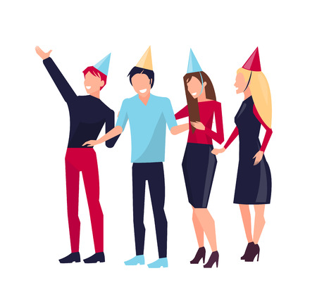 Partying People on Vector Illustration White