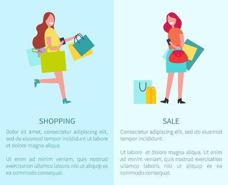 Shopping and Sale Set of Two Vector Illustration