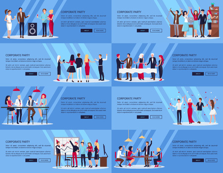 Corporate Party Set of Pics Vector Illustration