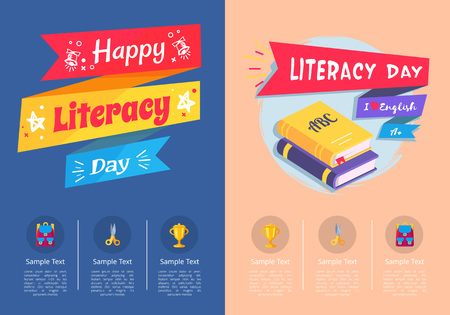 Happy Literacy Day Collection of Colorful Posters Illustration