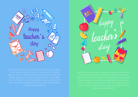 Set of Two Pics Teachers Day Vector Illustration