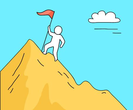Man Climbing High Mountain on Vector Illustration Illusztráció