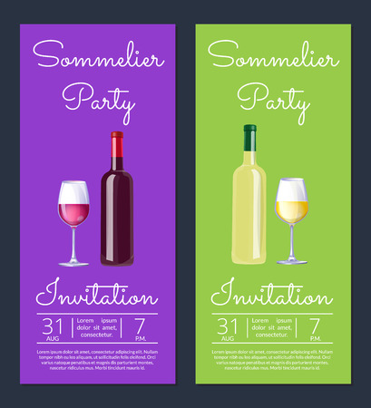Sommelier Party with Dates on Vector Illustration