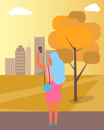 Woman Taking Picture of City Vector Illustration 向量圖像