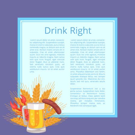Drink Right Poster Depicting Food and Beverage Illustration