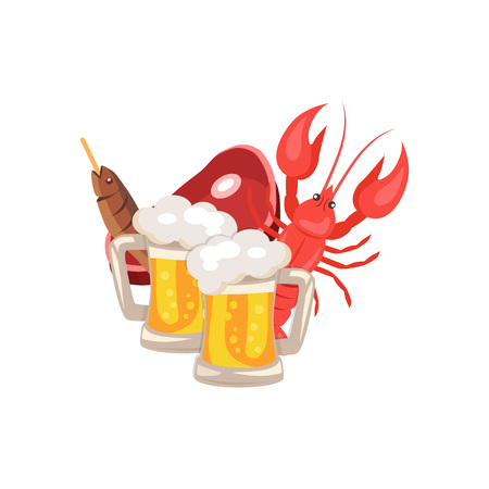 Beer and Snacks Vector Illustration on White Illustration