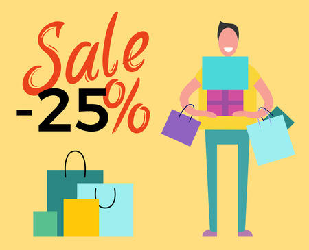 Sale -50 and Happy Man on Vector Illustration