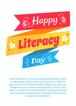 해피 Literacy 데이 포스터 파란색 배경 텍스트 일러스트