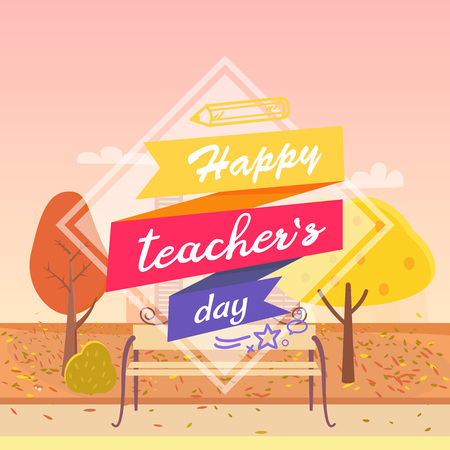 Happy Teachers Day Decorated Vector Illustration