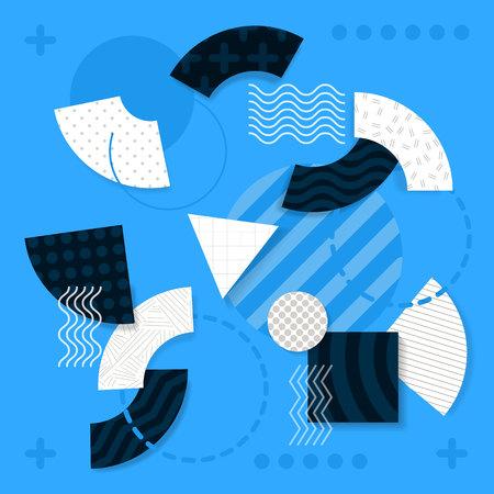 Illustrations of Geometric Shapes on Light Blue Иллюстрация