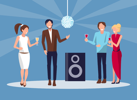 Corporate Party Disco on Vector Illustration Blue