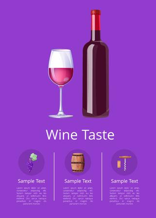 Gusto del vino con l'illustrazione di vettore del campione del testo Archivio Fotografico - 90317905
