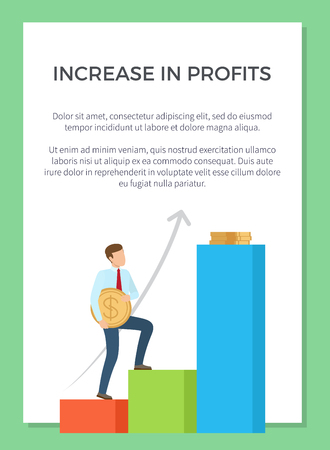 Increase in profits representation with man climbing upstairs with giant coin. Vector illustration with colorful visualization on white background