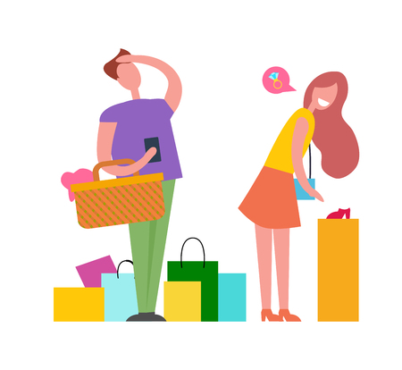 Man and woman with multicolored shopping bags. Vector illustration is isolated on white background. Female is dreaming about wedding ring