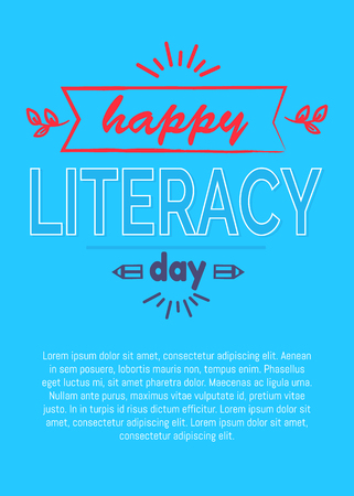 Happy literacy day poster with pencil silhouette, inscription and place for text vector illustrations on blue background, greeting cover design