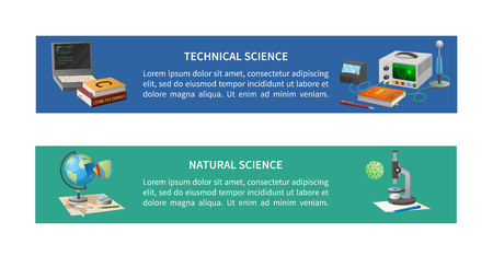 Technical and natural sciences posters with coding equipment, books, globe model and microscope with cell vector illustrations Illustration