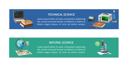 Technische en natuurwetenschappelijke posters met codeerapparatuur, boeken, wereldbolmodel en microscoop met cel vectorillustraties