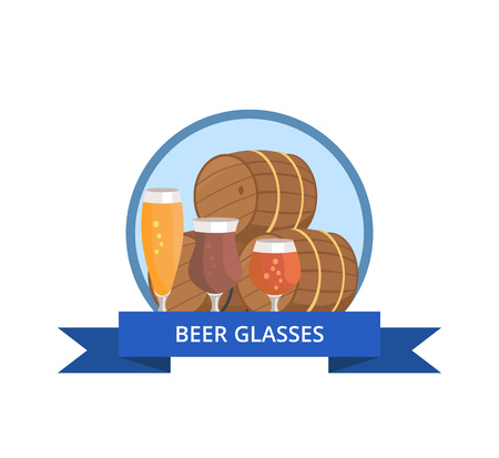 Beer Glass Logo Design Barrels and Three Glasses Stock Vector - 90465793