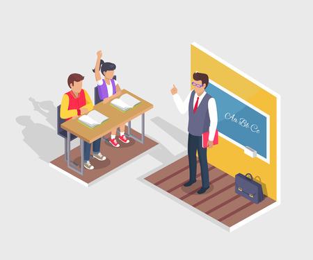 두 학생 소년과 소녀 앉아 책상, 교사 스탠드